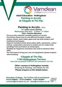 Citygate poster Varndean Acrylic course